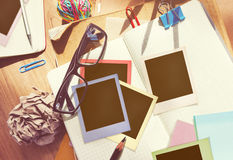 Photographer Messy Desk Working Place Concept Stock Images