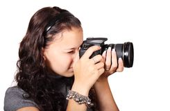 Photographer, Microphone, Single Lens Reflex Camera, Cameras & Optics Royalty Free Stock Photography