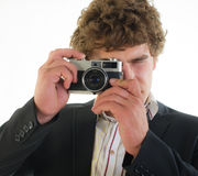 Photographer from 35 mm the camera Royalty Free Stock Image