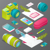 Photographer Mockup with Camera, Lens and Accessories. Identity Stationary Elements Stock Photo