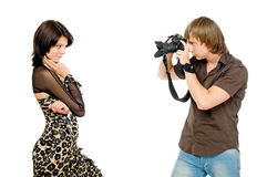 Photographer and model. Photographer make shoot of a model royalty free stock photos