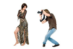 Photographer and model. Photographer make shoot of a model stock photography