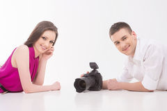 Photographer and model. Royalty Free Stock Image