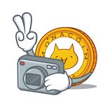 Photographer Monacoin mascot cartoon style. Vector illustration Stock Photography