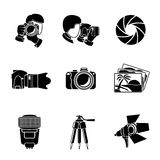 Photographer monochrome icons set with - shutter. And camera, photos, shooting photographers, flash, tripod, spotlight. Vector illustration Royalty Free Stock Images