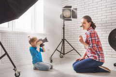 Photographer in motion. stock image