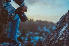 Photographer on mountain stock photos