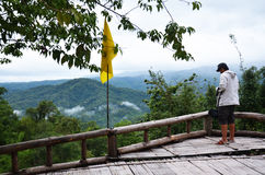 Photographer on Mountain at Pai at Mae Hong Son Thailand Stock Images