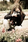 Photographer on the nature. Woman the photographer on the nature Stock Photo