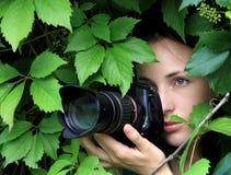 Photographer on nature. Beautiful girl photographer on nature Royalty Free Stock Photo