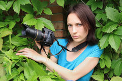 Photographer on nature. Stock Photo