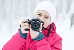 Photographer on nature in winter Stock Image