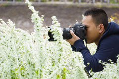 Photographer in nature. Young man photographer taking pictures in nature Stock Image