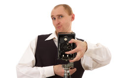 Photographer and old camera. Photographer rejoices and takes pictures old camera Royalty Free Stock Images