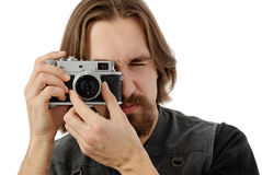 Photographer with old film camera Royalty Free Stock Images