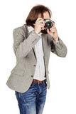 Photographer with old retro film  camera. isolated on white back Stock Image