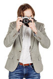 Photographer with old retro film  camera. isolated on white back Stock Photo
