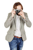 Photographer with old retro film  camera. isolated on white back Stock Photos