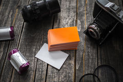 Photographer orange business card identity mockup Royalty Free Stock Images