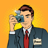 Photographer Paparazzi. Reporter with Camera. Media Representative. Man Taking a Picture. Journalist with Camera. Mass Media. Pop Art Banner. Vector Stock Photo