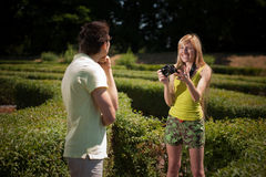Photographer in park Royalty Free Stock Photos