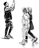 Photographer and passers people. Vector sketch of a people on a walk Stock Photography