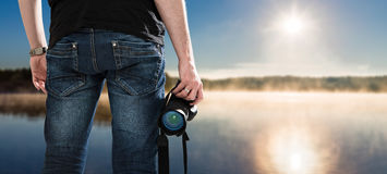 Photographer photographic camera dslr photo person passion outdo Royalty Free Stock Images