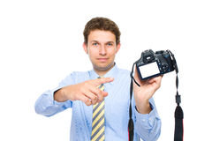 Photographer points to empty dslr back screen Royalty Free Stock Photos