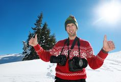 Photographer portrait at winter Royalty Free Stock Photo