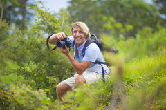 Photographer with Professional Digital Camera Stock Image