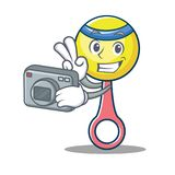 Photographer rattle toy mascot cartoon Stock Photos