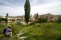 Photographer in Red / Rose Valley, Cappadocia, Turkey Stock Photos