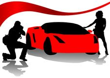 Photographer and red sport cars Royalty Free Stock Photos