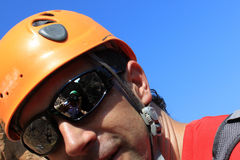 Photographer reflect in sunglasses. While doing via ferratas Royalty Free Stock Images