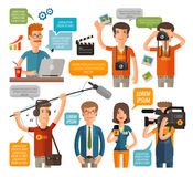 Photographer and reporter, television, journalism flat icons set. vector illustration Stock Photos