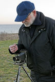 Photographer with Retro Camera Royalty Free Stock Photography