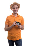Photographer with retro camera Stock Images