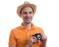 Photographer with retro camera Royalty Free Stock Images