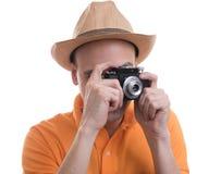 Photographer with retro camera Royalty Free Stock Photos