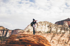 Photographer on rocky overlook Stock Image