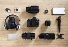 photographer's equipment and accessories on wood stock photos