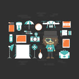 Photographer. `s gadget, set of tool icon, retro style Royalty Free Stock Photography