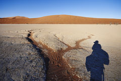Photographer's shadow in desert Royalty Free Stock Images