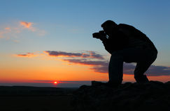 Photographer's silhouette. Royalty Free Stock Image