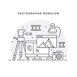 The photographer's workflow. Photographer workplace. Photo processing. Black and white modern line art vector illustration for the web site Stock Image