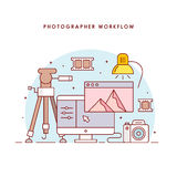 The photographer's workflow. Photographer workplace. Photo processing. The modern line art vector illustration for the web site Stock Photography