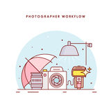 The photographer's workflow. Photographer workplace. Photo processing. The modern line art vector illustration for the web site Royalty Free Stock Photos