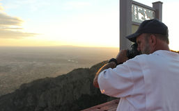 A Photographer on the Sandia Peak Aerial Tramway Observation Dec Stock Photos