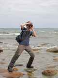Photographer  at sea Royalty Free Stock Images