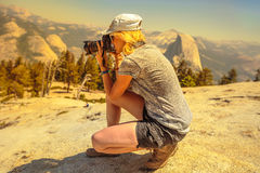 Photographer on Sentinel Dome Stock Image